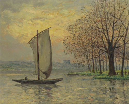 poboh:  The Bank of the Loire, 1910, Maxime Maufra. French (1861 - 1918)