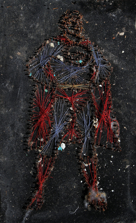abandonednyc:  Superman string art found in an abandoned squatter colony in Gowanus. More at abandonednyc.com.  Some time ago—I don't know how long. Was it a month or a year? Ten years? It seems like forever since He came. He took our dreams and our hopes, our fears and our desires. He left us only with Anti-Life. With clarity of purpose that wipes out everything else. But there are still a few of us who remember the way things are before. We get together in abandoned builidngs in the places His servants won't look and tell stories of the heroes who used to be. The man who lost his parents as a child and dedicated his life to making sure no one would know that loss again. The woman who was the greatest warrior of all, who came to teach us the way of peace. And the good man who was sent from another world to give us the hope his world had lost. He's never been defeated before. The stories contradict each other and they may not make a whole lot of sense but we know there's some truth in them. We still hold the hope in our hearts that he will come again.