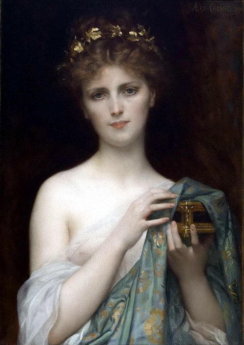 Pandora by Alexandre Cabanel, 1873. Cabanel shows the curiosity of Pandora just before she opens her box and accidentally unleashes all of the evils into the world, leaving only hope inside. The story of Pandora's box is from Hesiod's 'Works and Days' poem.
