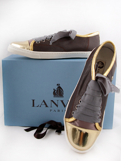 Lanvin Sneakers  for Women- Dark Brown / GoldMore photos & another fashion brands: bit.ly/JzBKKp