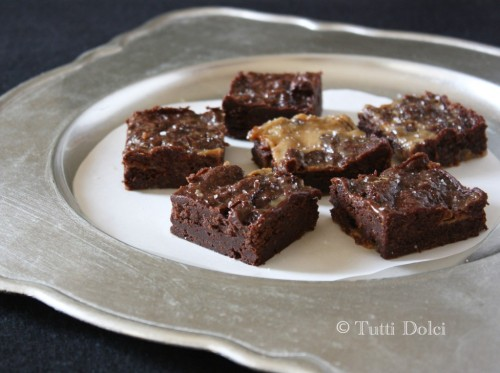 salted dulce de leche brownies! source!