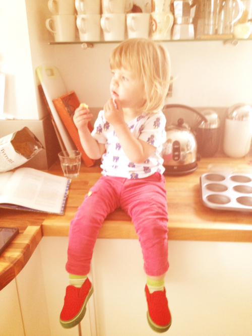 Miss B rocking her Vans Watermelons.