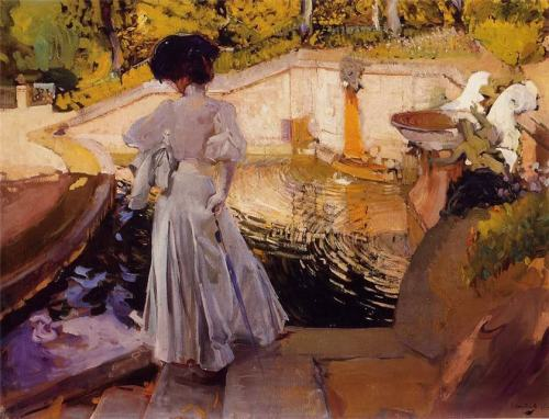 poboh:  Maria, Watching the Fish, Granja, Joaquin Sorolla y Bastida. Spanish Realist, Impressionist Painter (1863 - 1923)