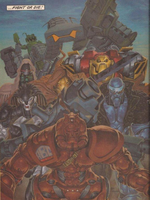"""Superb splash-page from prologue to """"Khronicles of Khaos"""" Book II(Prog780,25Apr'92),where we see the Warriors invigourated,after getting much needed overhauls,including new recruit Morrigun,first female Warrior in an ever changing roster of seven fighting mechanoids.Kev Walker had by now developed a distinct style and was fast becoming a fan favourite.Spread the word!"""
