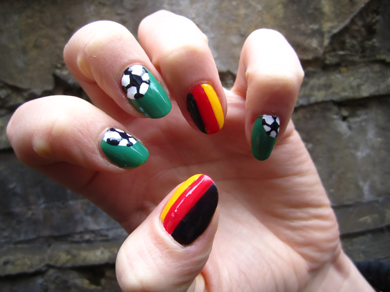 special request for Germany Euro cup 2012 nail art by DaaaangGirl