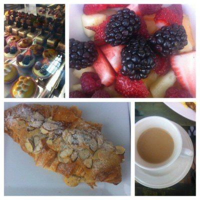 Perfect breakfast. Best almond croissant of my life #palmdesert #california #breakfast #almond #croissant #fruit #berries #coffee #french #cafe #pastries #happiness (Taken with Instagram at French corner café)