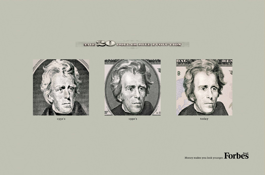 Forbes Magazine: The Evolution of the Dollar Bills, $20 Money makes you look younger.