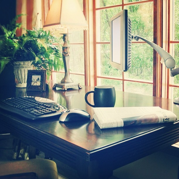 #inspiring #workspace. Let the #light shine in and always position your #desk to see beyond your #deskspace. #window #officespace #soho #smallofficehomeoffice #simple #decorating #decor #interior #design #homeoffice (Taken with Instagram)