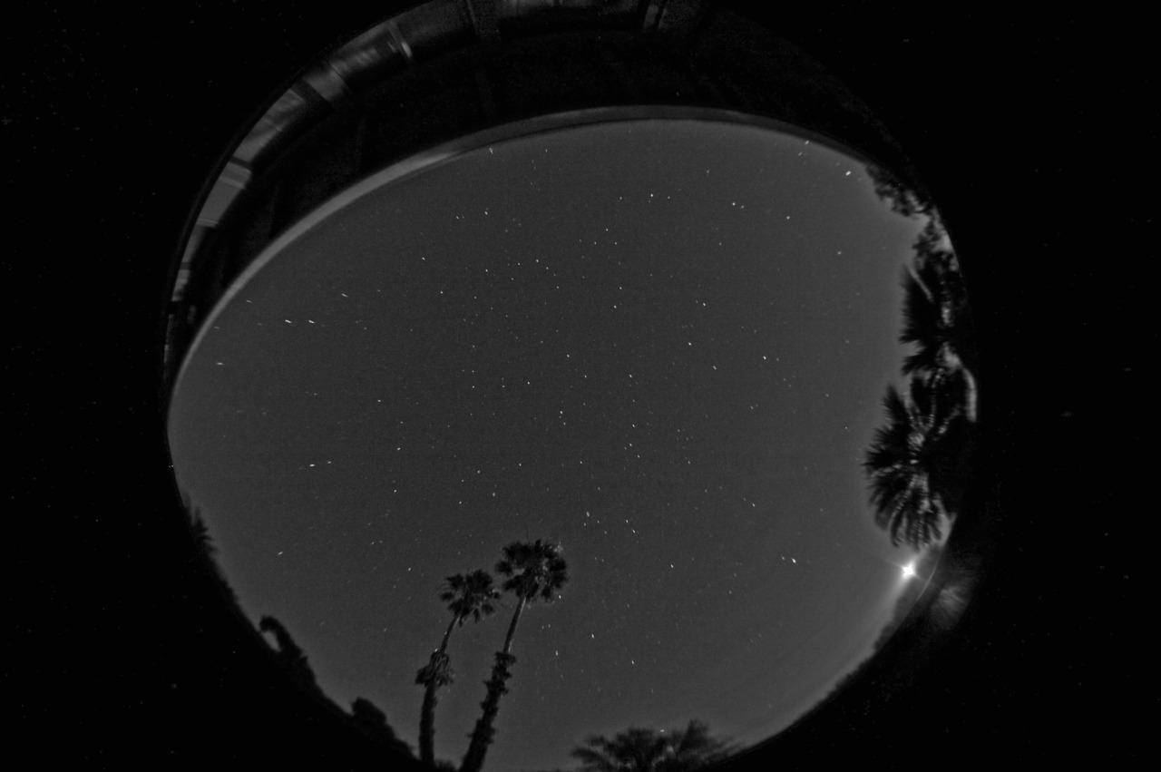 Night sky HDR, greyscale.