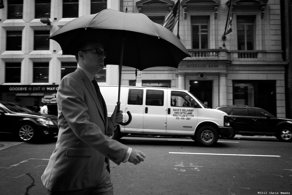 NYC, New York:  May, 2012.  FYI … it wasn't raining.   Fuji X-Pro 1.  XF 18mm/F2 R.     Lightroom 4 » Silver Efex Pro 2.