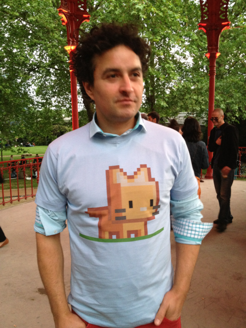 "Someone made himself a tshirt with my ""Meow"" pixel art design at an event yesterday, so I took a photo of him ^^"