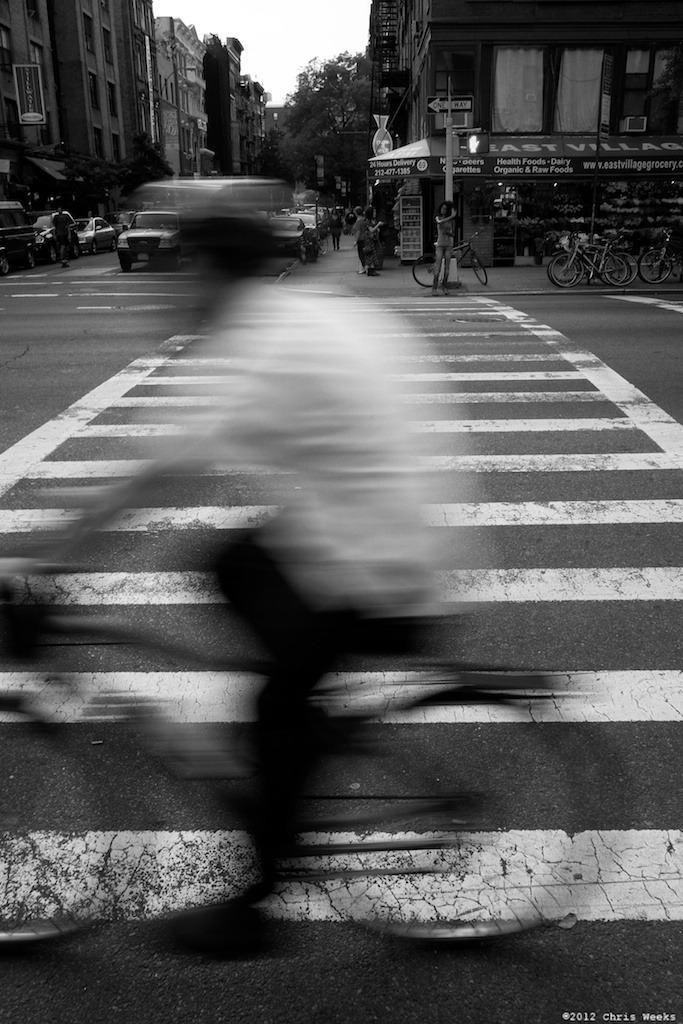 NYC, New York:  May, 2012.  Thanks for the blur.   Fuji X-Pro 1.  XF 18mm/F2 R.     Lightroom 4 » Silver Efex Pro 2.