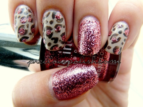 "preciouspolish:  neutral leopard print with rose glitter ""Luxe Leopard"" on preciouspolish.com"