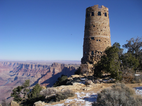 Desert View Watchtower is located on the South Rim of the Grand Canyon within Grand Canyon National Park in Arizona. The tower is located at Desert View. The four-story structure, completed in 1932, was designed by American architect Mary Colter who also created and designed many other buildings in the Grand Canyon vicinity including Hermit's Rest and the Lookout Studio.