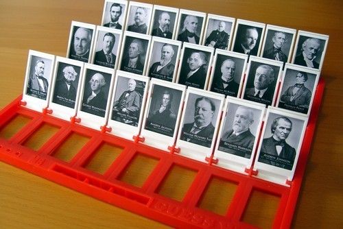 "sparechange-lhopeo:  Great Idea: Make your own Guess Who! Can do with photos of celebrities, historical figures, friends, politicians, etc.   Anything that uses ""Guess Who!"" is a win in my book."