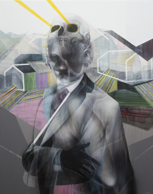 jreuss:  The Architect 2012. Acrylics, pencil, charcoal. 90 x 70 cm. By John Reuss