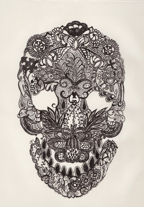 alleged-legends:  Lace Skull. Micron on Paper, 2011 ©   :)