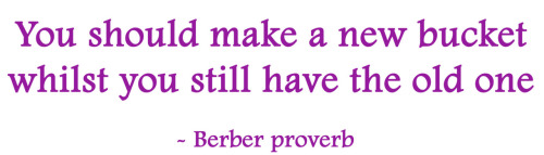 You should make a new bucket whilst you still have the old one. - Berber proverb