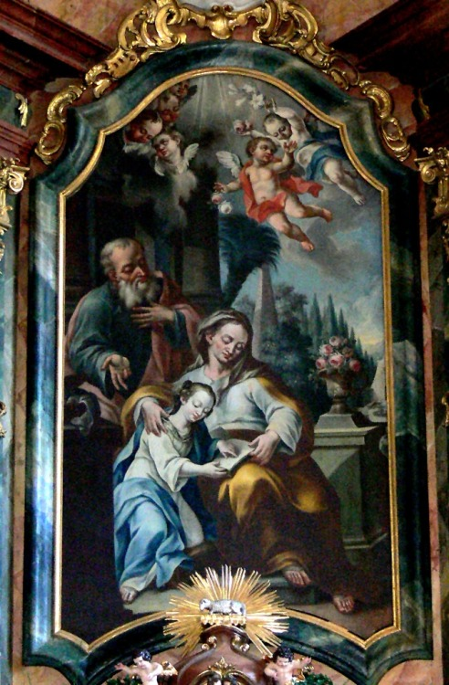 The Education of the Virgin Mary (1752) by Franz Xaver König in the church of St. Anne in Salzburg, Austria.