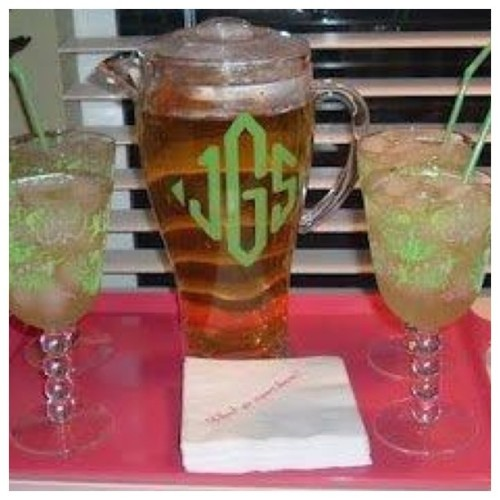 National Iced Tea Month. #LillyPulitzer #monogram #pinkandgreen #southern (Taken with Instagram)