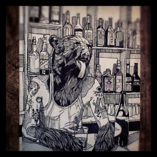 lukedixonart:  The 'BearMaid' original ink drawing. (Taken with Instagram)