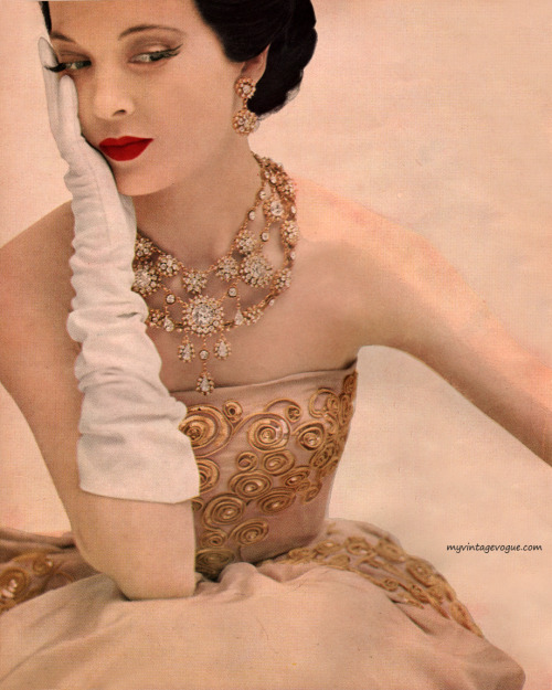 Gown by Christian Dior - Harper's Bazaar September 1951 Photo by Karen Radkai