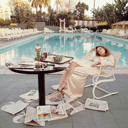 "snapshots71:  Faye Dunaway the morning after achieving the Oscar to the best actress for ""Network"" (1977)"