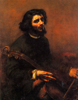 antiqueart:  Gustave Courbet - The Cellist, Self Portrait (1847)