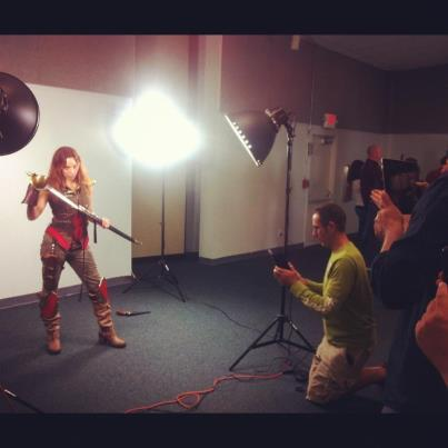 Behind the scenes of the photo shoot as Red Angel at the South Florida Camera Club
