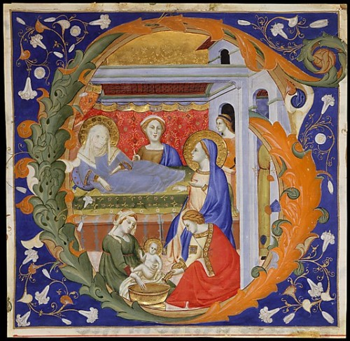 a-r-t-history:  Don Silvestro de' Gherarducci, Initial G with the Birth of the Virgin, c. 1375, tempera, gold, and ink on parchment (via The Metropolitan Museum of Art)