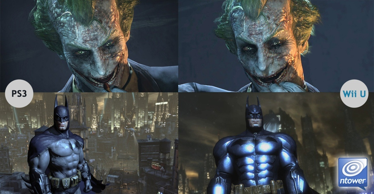 This little comparison image was put together for Batman: Arkham City. The shot compares stills from the PS3 and Nintendo Wii U versions of the game. As you can see, the Wii U version holds up pretty well. The Nintendo Wii U version, Batman Arkham City: Armoured Edition, was announced at E3 with some awesome unique features.