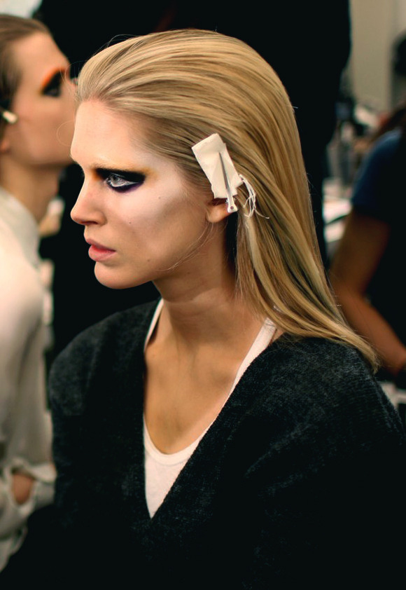 Backstage at Prada F/W 2012