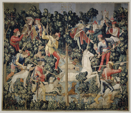 a-r-t-history:  The Unicorn is Attacked, c. 1495-1505, wool (via The Metropolitan Museum of Art)