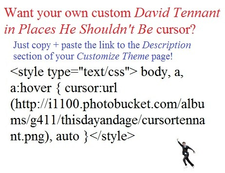 "<style type=""text/css""> body, a, a:hover { cursor:url(http://i1100.photobucket.com/albums/g411/thisdayandage/cursortennant.png), auto }</style>  submitted by thisdayandage You're welcome! x  SO AMAZING IT HURTS. do this. do it now. -Molly"