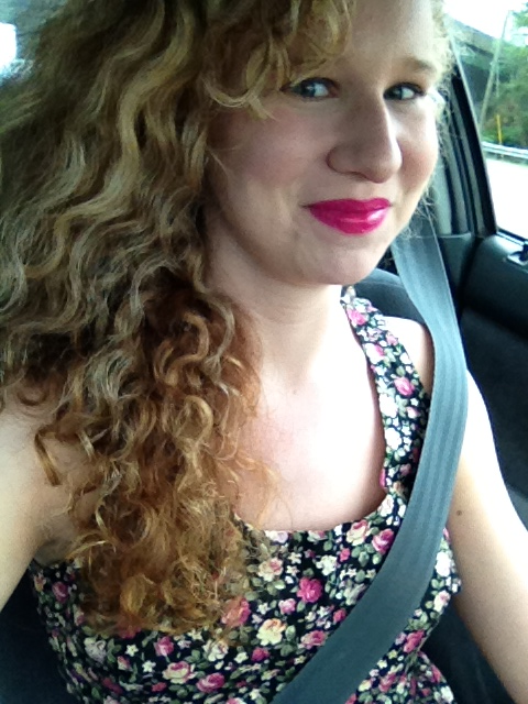 I'm feeling very Taylor Swift today with the bright lipstick and the curls and the high heels and the floral dress.   Now give me wedding cake, damn it.