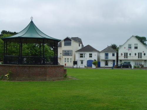 Bandstand on Village Green , Lymington, overlooks the Harbour.