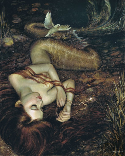 "melhoneycat:  Atargatis by Annie Stegg ""Oil on Wood Panel 