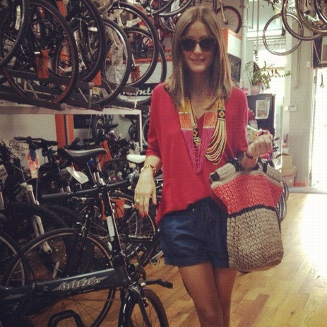 missoliviapalermo:  Bicycle shopping! Wearing shorts by Ann Taylor, top by Reiss, beaded necklaces by Charming Charlie, bag by Furla, and ballet flats by French Sole.