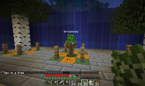 brownpau:  Skulking around neckro23's tree farm on Reporkalypse with my new Minecraft skin.