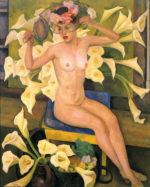 Diego Rivera, Nude with Flowers, Veiled Woman, 1943, Mujer con velo, Desnudo con Flores.