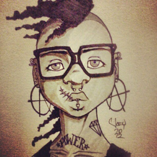 queerhairyvag:  bazookamonster:  #Doodle of the day: Random #Afropunk chick. Just trying to rediscover my #style and work more with #brush #pens. Pulled some influences from Wet Moon while sketching her up. #art #concept #illustration (Taken with Instagram)  afropunk chick is so perfect I want to cry  GAH! I love your style!
