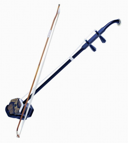 Erhu The Erhu is a chinese fiddle of sorts which consists of two strings. Part of the Huqin instrument family, this instrument radiates its sound from its hexagonal sound body. The bow is built in between the two strings, and cannot be removed unless strings are changed. Having been used as early as the Tang Dynasty, the Erhu has been a definitive piece of Chinese culture for centuries. Over time, it has been used in many musical forms, such as in accompaniment for opera, as solo performance, or in a Western orchestra style.  As described in this video, the instrument's range replicates the human voice, making it representative of sadness and human suffering. However, it can also be quite melodic.