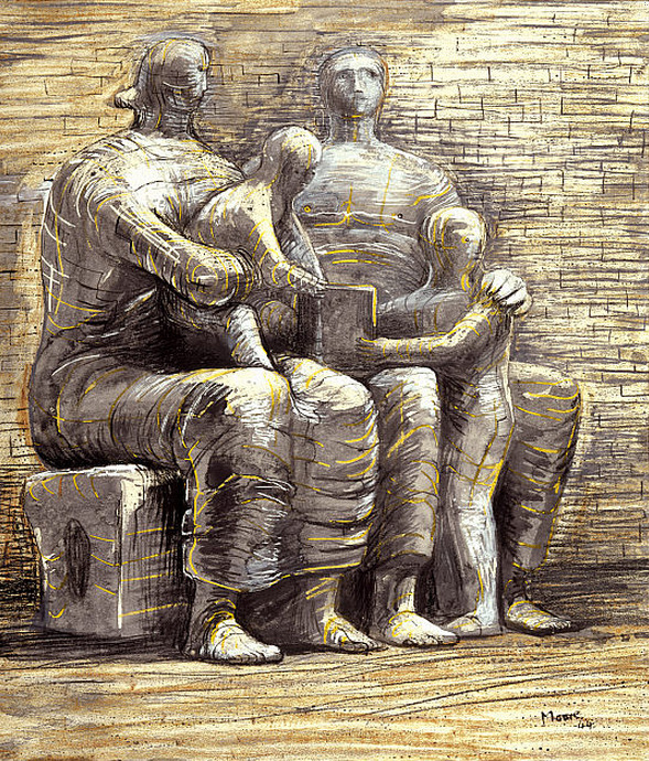 cavetocanvas: Henry Moore, Family Group, 1944, From the National Galleries of Scotland: