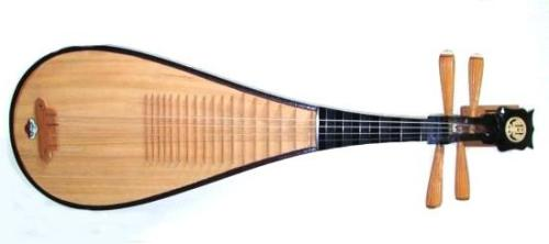 Pipa The Pipa is a 4 stringed lute originating from China. Its name originates from the forward and backward movement (p'i/p'a) used to pluck the strings. Having been traced as far back as the Qin Dynasty, it is one of the oldest instruments in China. The Pipa can be played/picked with 60 different techniques. If good technique is developed, it can be picked VERY fast.  Listen here.