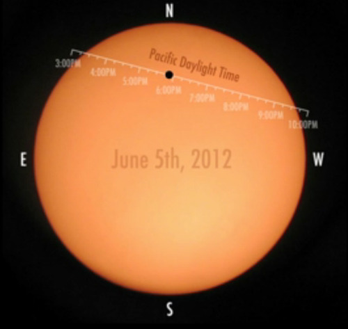Venus Transit 2012 Time TagsCredit: NASAThis still from a NASA video shows the position of Venus on the sun's disk in Pacific Daylight Time on June 5, 2012 during the last transit of Venus for 105 years.
