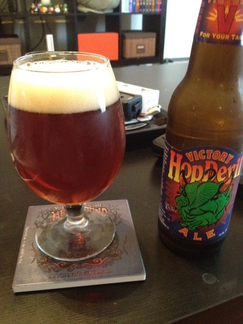 Victory Brewing Co | Hop Devil | 6.7% ABV IPA Very surprised this is the first time I'm having this. I've always been turned off by Victory's labels but I've never really heard anything bad about the hop devil. That being said…this is pretty good. It has a typical really hoppy bitter aftertaste but that's about it. It's be a pretty good session beer. Not fantastic but not bad either. Give it a shot. Price: $9.99/6pack Rating: 6/10