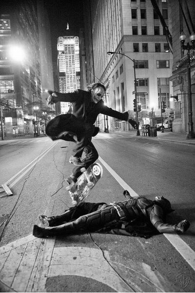 myurlwastaken:  Heath Ledger as the Joker skateboarding over Christian Bale as Batman while they take a break from shooting The Dark Knight.  You can all quit your lives now.
