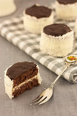 chocolate buttercream mini cakes with coconut.