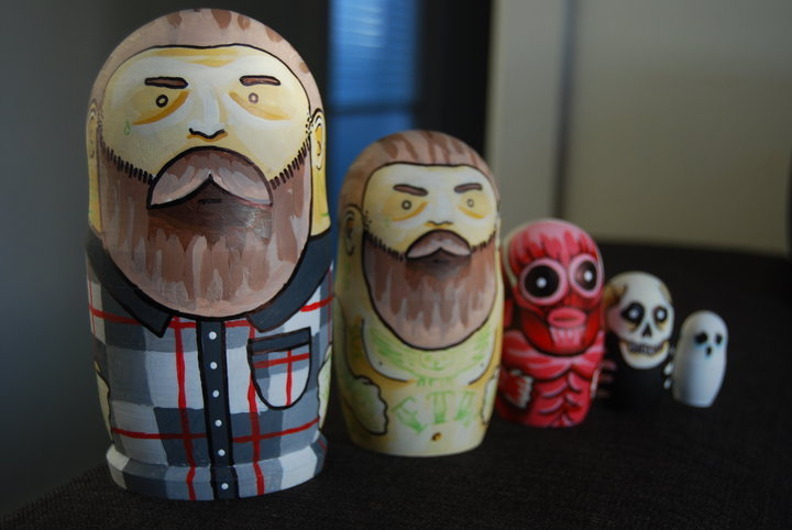 hand painted these biker dolls a while back for a mate. still think they are rad.