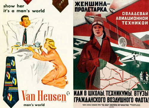 sepulcravo:  Left: United States advertising circa 1950. No comments. Right: Poster printed in the USSR  (1935). It calls for Soviet women to enroll in the faculties of Aerospace Engineering.